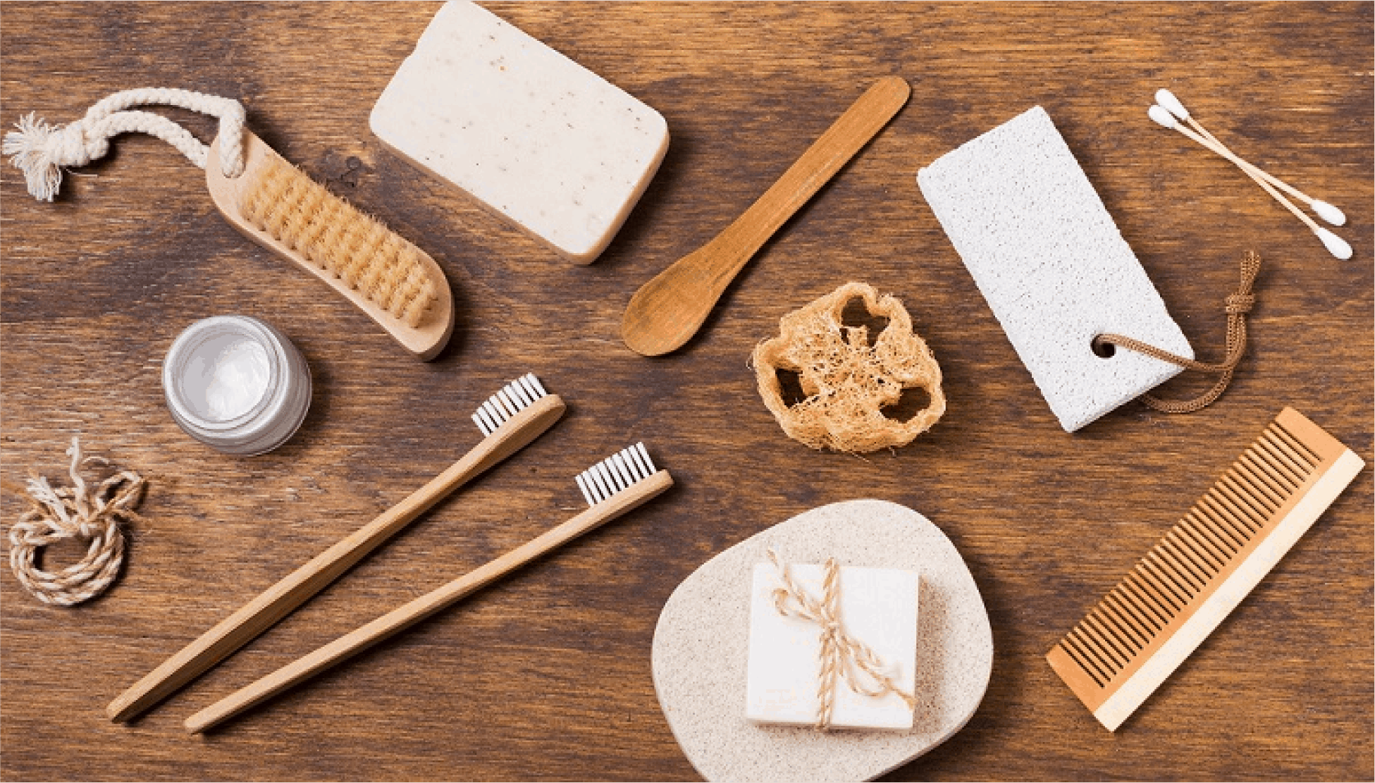 An Assortment of bathing accessories, Toothbrushes, comb and sponges. @300x